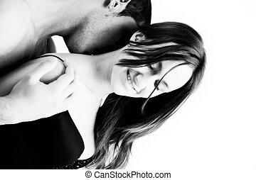 épaule, baiser, elle
