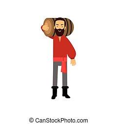 épaule, barbu, sien, rhum, classique, caractère, dessin animé, baril, habillement, pirate, homme