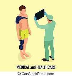épaule, douleur, entorses, après, ou, orthopédie, joint., medicine., genou, rééducation, trauma.