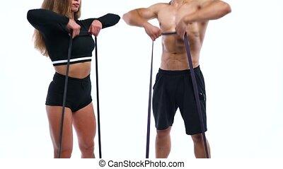 épaule, femme, élastique, athlétique, bandes, studio, fond, exercices, blanc, homme