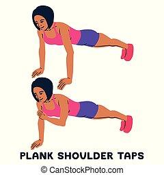 épaule, femme, exersice., silhouettes, séance entraînement, taps., training., sport, planche, exercise.