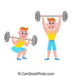 épaule, formation, accroupissement, -, jeune, barre disques, haltérophilie, presse, homme