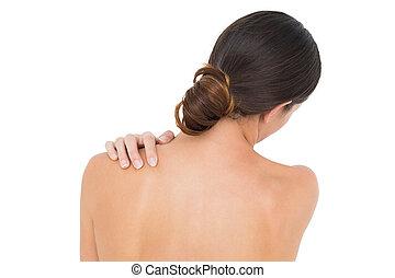 épaule, gros plan, femme, douleur, topless