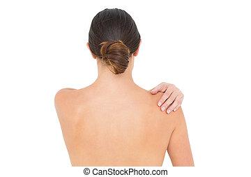 épaule, gros plan, femme, douleur, topless, vue postérieure