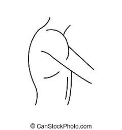 épaule, icône, style, contour