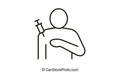 épaule, injection, contour, icône, illustration