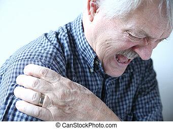 épaule, jointure, homme, douleur, plus vieux