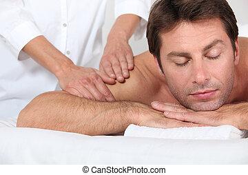 épaule, réception, masage, homme