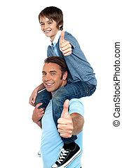 épaule, sien, père, fils, confiant, porter