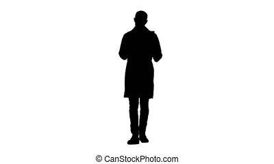 épaule, silhouette, docteur, marche., balayage, quoique, réexaminer, rayon x