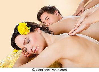 épaule, spa, couple, réception, masage