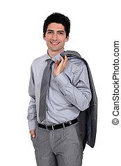 épaule, veste, sur, drapé, confiant, homme affaires