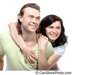 épaules, amour, couple, jeune, dos, regarder, embrassé, boyfriend's, portrait, heureux, côté, elle