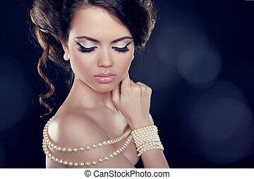 épaules, collier, femme, beau, perle, bared