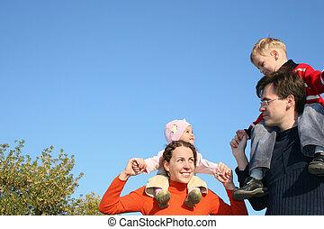 épaules, enfants, famille