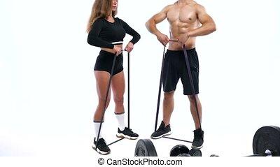 épaules, femme, élastique, athlétique, bandes, studio, fond, blanc, exercice, homme