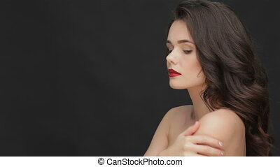 épaules, femme, nu, jeune, séduisant