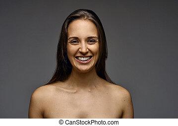 épaules, femme, nu, séduisant, sourire
