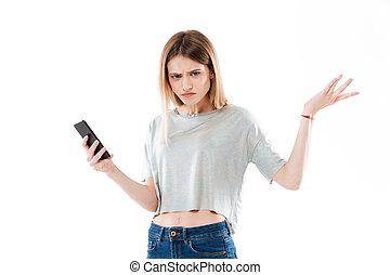 épaules, mobile, jeune, confondu, téléphone, tenue, gesticulation, girl