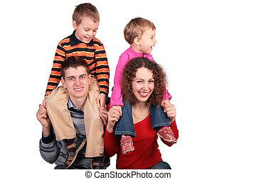 épaules, parents, enfants