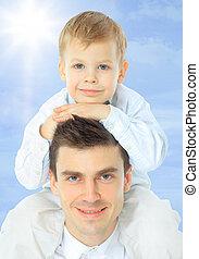 épaules, sien, père tenant fils
