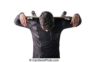épaules, sien, sur, skateboard, jeune homme, beau