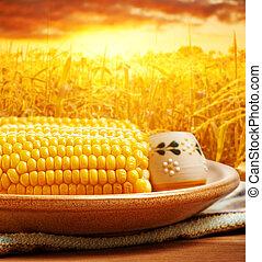 épi maïs, sur, coucher soleil