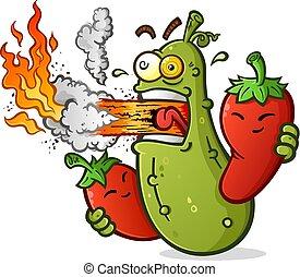 épicé, feu respiration, poivres, chaud, saumure, dessin animé