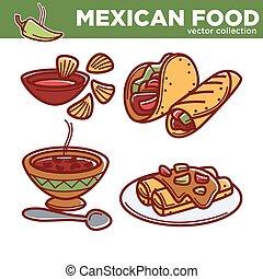 épicé, mexicain, plats, nourriture, collection, vecteur, ensemble