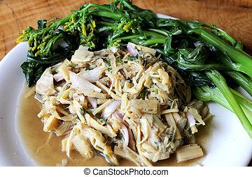 épicé, nom,  soup-hnor-mai, soupe, Nourritures,  thaï, bambou
