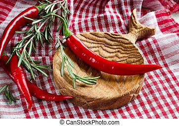 épicé, poivres piment, sur, bois, cuisine, planche