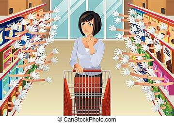 épicerie, achats femme, beaucoup, illustration, choix