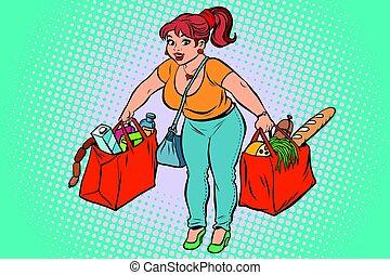 épicerie, achats femme, jeune