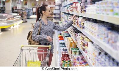 épicerie, achats femme, jeune, supermarché, joli