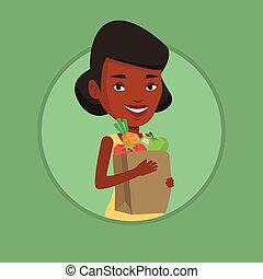 épicerie, achats femme, tenue, bag., heureux