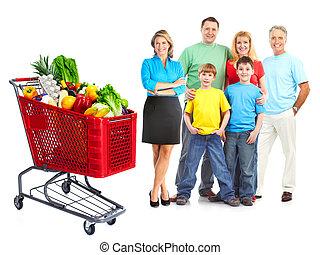 épicerie commerciale, cart., famille, heureux