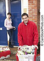 épicerie commerciale, chauffeur, livraison, maison, customer's, déchargement