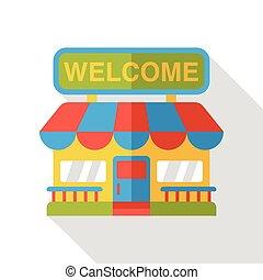 épicerie commerciale, magasin, plat, icône
