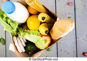 épicerie commerciale, sac, nourriture, concept., différent, arrière-plan., papier, bois, vue., sommet