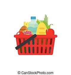 épicerie commerciale, vecteur, produits, panier, sain, ...