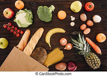 épicerie, concept, achats, sommet bois, sac, fruits, vue, légumes, table, pain