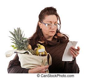 épicerie, dénombrement, acheteur, coûts