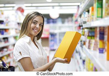épicerie, femme, magasin