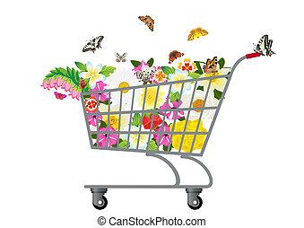 épicerie, fleurs, charrette