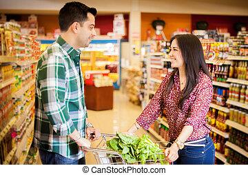 épicerie, flirter, magasin