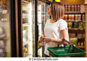 épicerie, froid, quelques-uns, magasin, achat, boissons