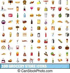 épicerie, icônes, ensemble, style, 100, dessin animé, magasin