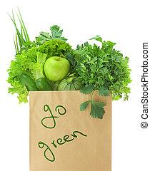 épicerie, légumes, sac, papier, vert, fruits, frais