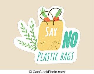 épicerie, non, sacs provisions, dire, concept, plastique