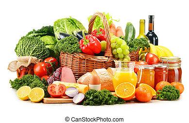 épicerie, organique, variété, isolé, produits, blanc